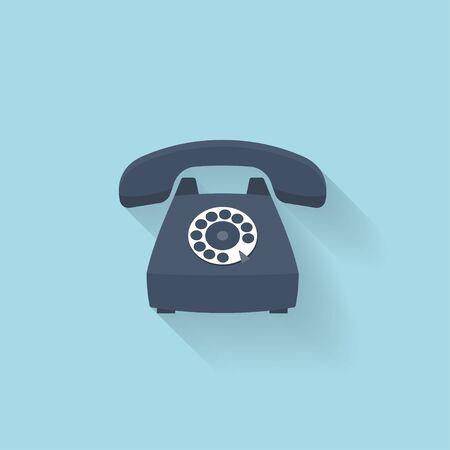cable telefono: Icono de internet banda plana. Tel�fono retro viejo de la vendimia.