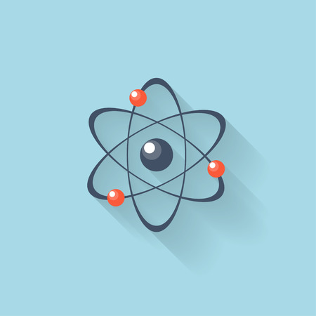 atomic symbol: Flat web internet icon. Atomic model.