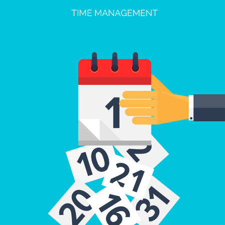 Flat calendar icon. Date and time background. Time management concept. Çizim