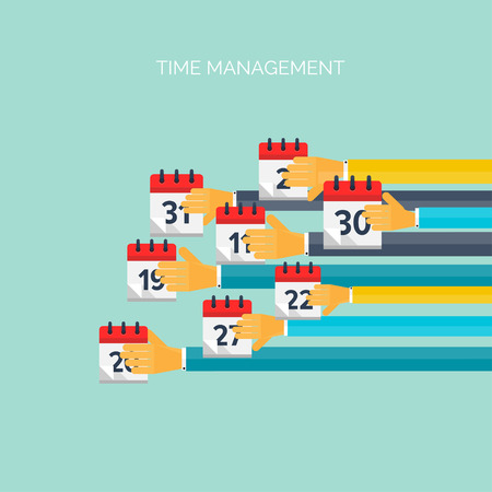 asian business meeting: Flat hands with clock. Time management concept background