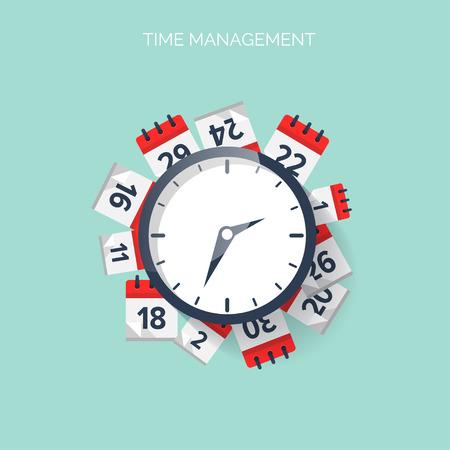 시계와 달력. 시간 관리 개념 배경