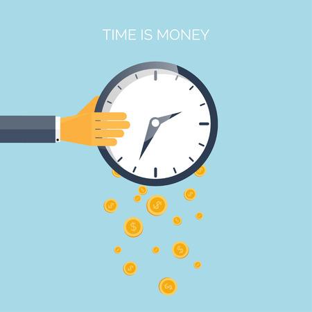플랫 시간은 돈 개념 배경입니다. Movey 절약. 시간 관리
