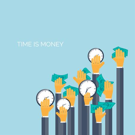 analog�a: Plano del tiempo es dinero concepto de fondo. Ahorro Movey. Gesti�n del tiempo Vectores