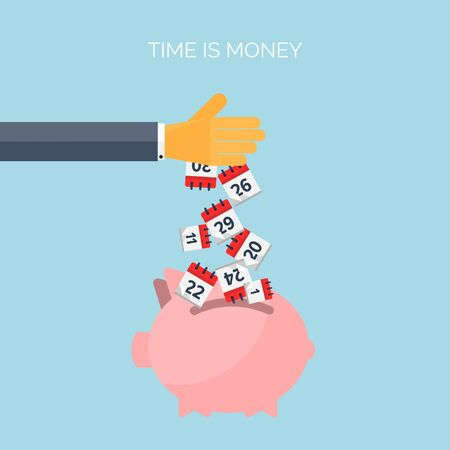 analogy: Flat time is money concept background. Movey saving. Time management