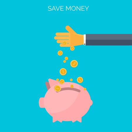 Save money flat concept background. Time is money Illustration