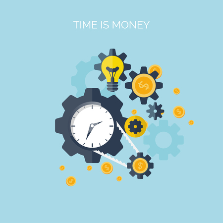 cartoon clock: Flat time is money concept background. Movey saving. Time management