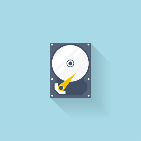 memory drive: Flat hard drive disk icon for web.