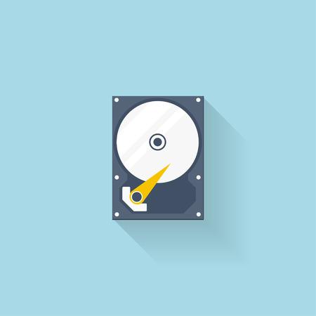 Web のフラット ハード ドライブ ディスクのアイコン。