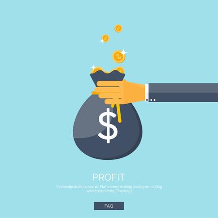 cash money: Ilustraci�n del vector. Fondo plano con la mano y la bolsa de dinero. Haciendo dinero. Deposito bancario. Financials. Vectores