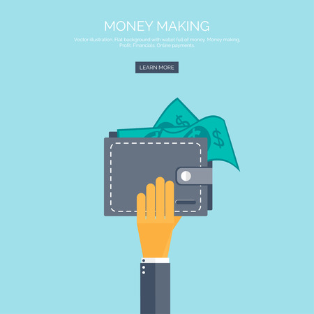 money online: Vector illustration. Flat background with hand and wallet full of money. Online shopping. Pay per click. Money making. Illustration