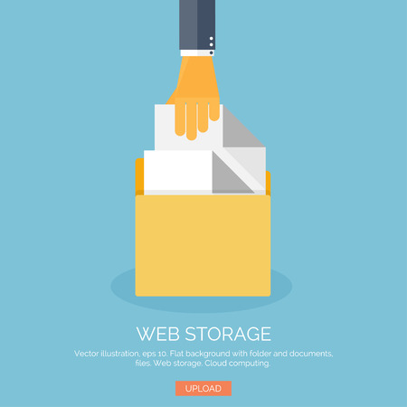 Vector illustration. Flat background with hand folder. Web data storage. Cloud computing.
