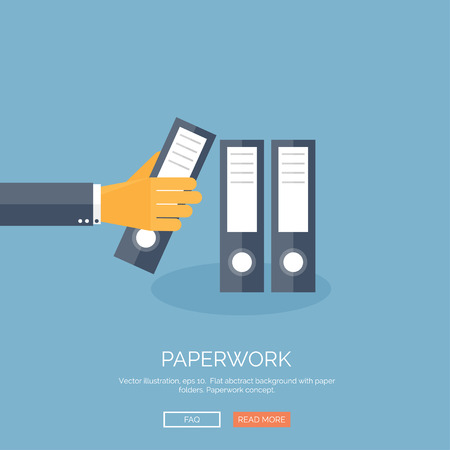 Vector illustration. Flat background with hand documents folder. Paperwork and financials.