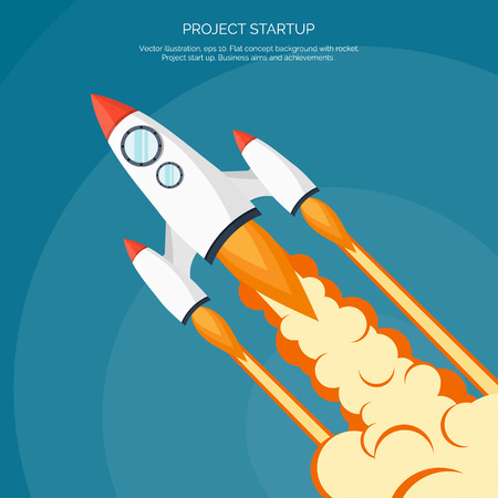rocket ship: Flat rocket icon. Startup concept. Project development.