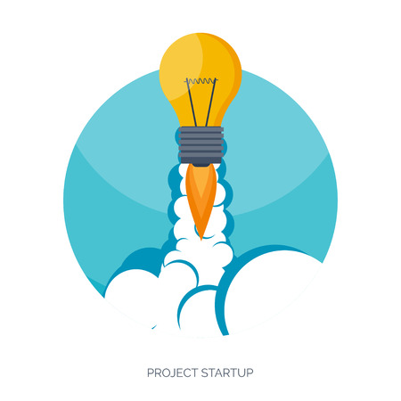 rocketship: Flat rocket icon. Startup concept. Project development.