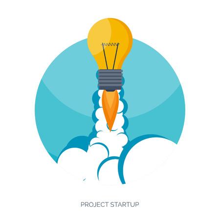 Wohnung Raketensymbol. Startup-Konzept. Projektentwicklung. Standard-Bild - 38068618
