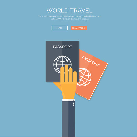 passport: Vector illustration. Flat background with hand and passports. Travel. Summer holidays.