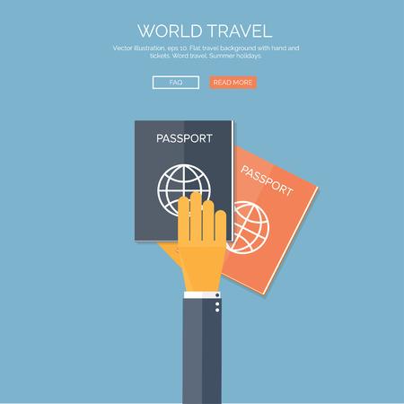 passeport: Vector illustration. Fond plat avec la main et passeports. Voyage. Vacances d'�t�. Illustration