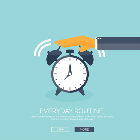 Vector illustration. Flat background with hand and alarm. Everyday routine. Working. Daily plan. Çizim