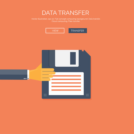 Vector illustration. Flat background with hand and floppy disc. Data transfer. Information. Vector