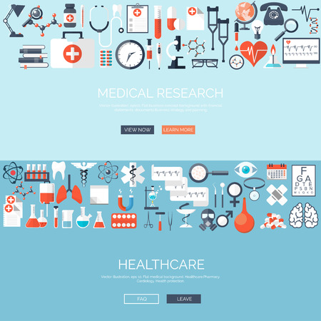 Vector illustration. Flat medical background. Medicine. Healthcare and medical research. First aid help. Illustration