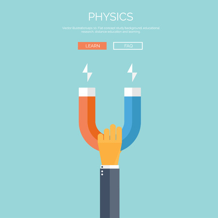 physics: Vector illustration. Flat background with hand and magnet. Physics.Vector illustration. Flat background with hand and Illustration
