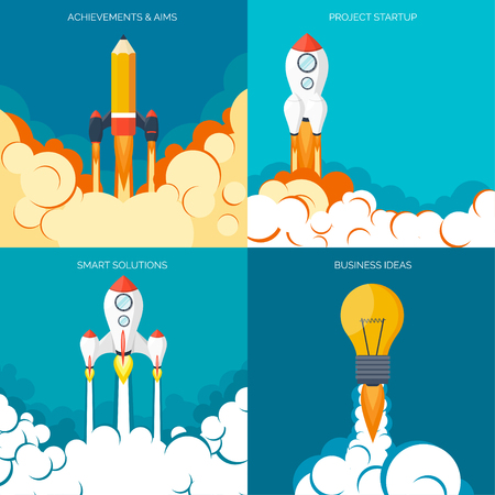 cartoon rocket: Flat rocket icon. Startup concept. Project development.