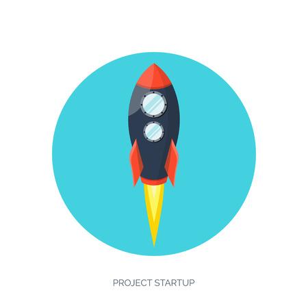 rocketship: Flat rocket icon. Startup concept. Project development.