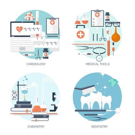 Ilustración del vector. Antecedentes médicos y químicos plana. Investigación, experimentación. Salud, primeros auxilios.