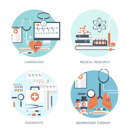empirical: Vector illustration. Flat medical and chemical background. Research, experiment. Healthcare, first aid.
