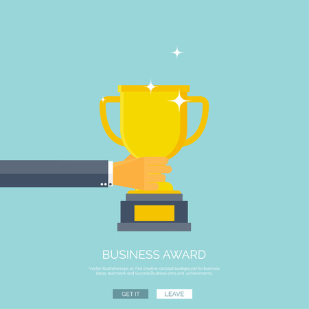 at first: Vector illustration with flat trophy and hand. First place and business aims concept background. Teamwork and company strategy.