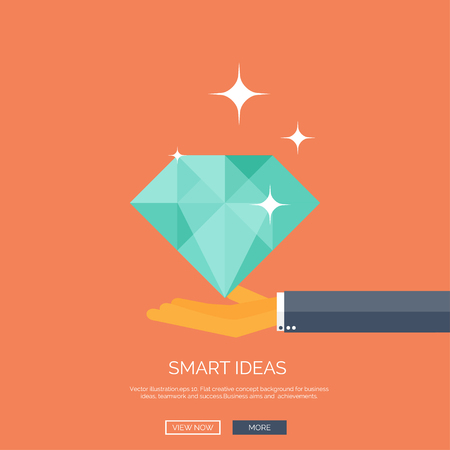 Vector illustration of diamond and hand. Flat business background. Smart solutions and ideas.  Brilliant knowledge.