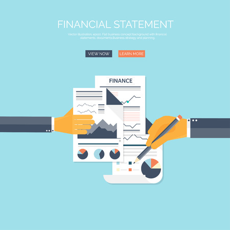 Vector illustration of financial concept background. Business solutions and money saving. Company strategy and management.Administrative planning. Çizim