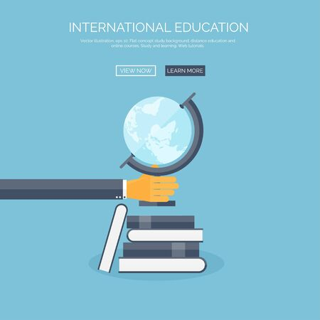 globus: Vector illustration. Concept background with hand, globus and books, global education, online courses.