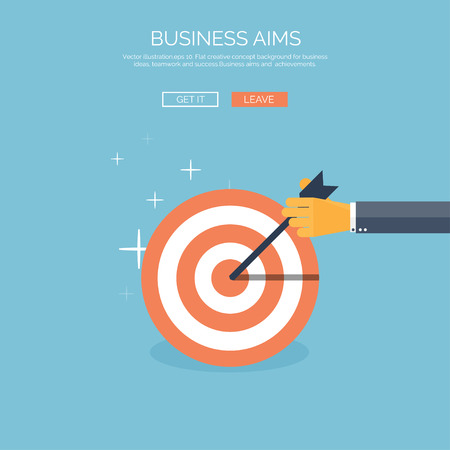 aims: Vector illustration. Flat background with target and hand. Business aims and company strategy. Teamwork and administrative planning.
