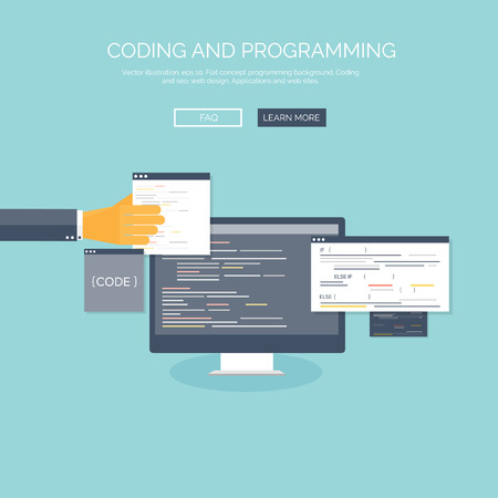stylesheet: Vector illustration. Flat concept background, coding and programming. Search engine optimization.
