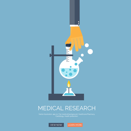 chemical equipment: Vector illustration with hand and search loupe. Flat health care and medical research background. Chemical equipment. Illustration