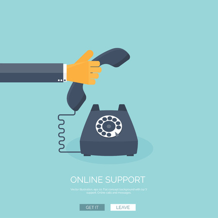 Vector illustration. Online support concept background. 24/7. Contact us.