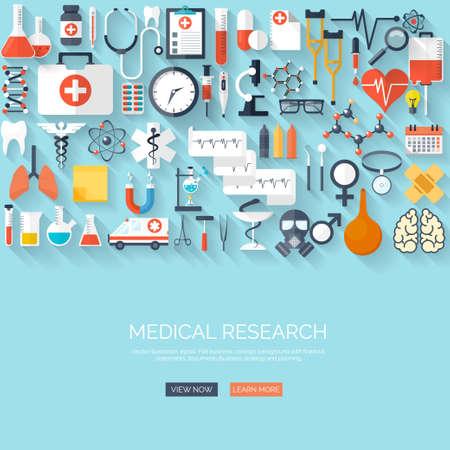 플랫 의료 및 의료 연구 배경. 의료 시스템 개념. 의학 및 화학 공학.