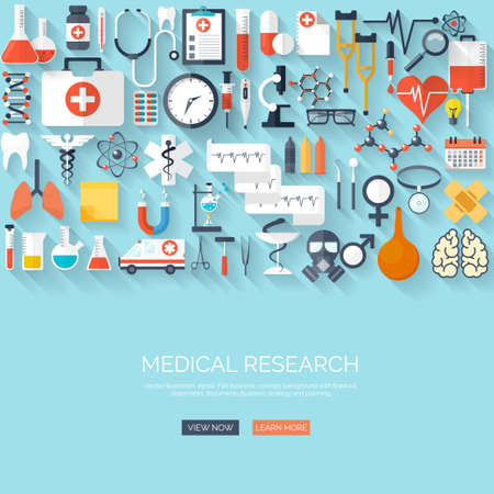 Flat health care and medical research background. Healthcare system concept. Medicine and chemical engineering. Иллюстрация