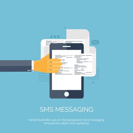 correo electronico: Ilustraci�n del vector. Sms. Comunicaci�n. Red social. Smartphone. Vectores