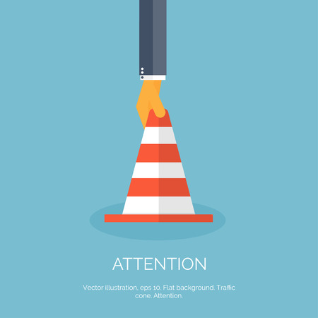 divert: Vector illustration, flat vector attention cone with hand.