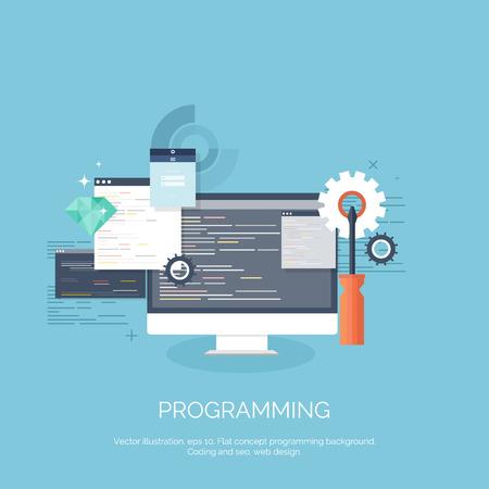 Vector illustratie. Platte computer achtergrond. Programmeren, coderen. Ontwikkeling web en search. SEO. Innovatie, technologie. Mobiele app. Ontwikkeling, optimalisatie. Stock Illustratie