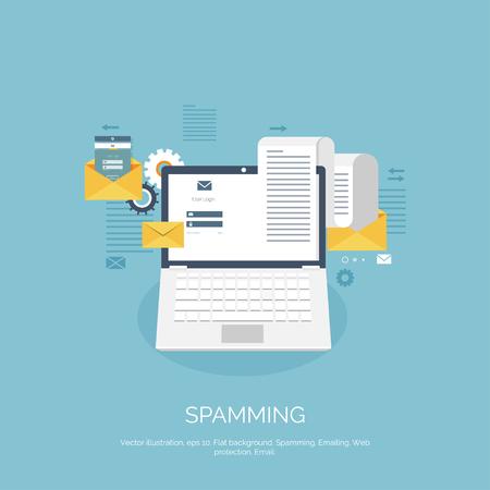 spamming: Vector illustration. Flat spamming background. Spam. Email. Global communication. Social network. Illustration