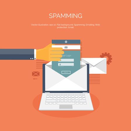 Vector illustration. Flat spamming background. Spam. Email. Global communication. Social network. Illustration