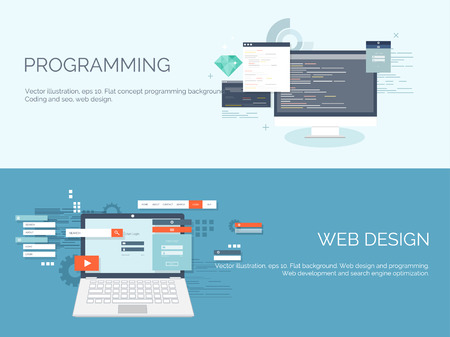 Vector illustration. Flat computing background. Programming,coding. Web development and search. SEO. Innovation, technologies. Mobile app. Development, optimization. Stok Fotoğraf - 38110648