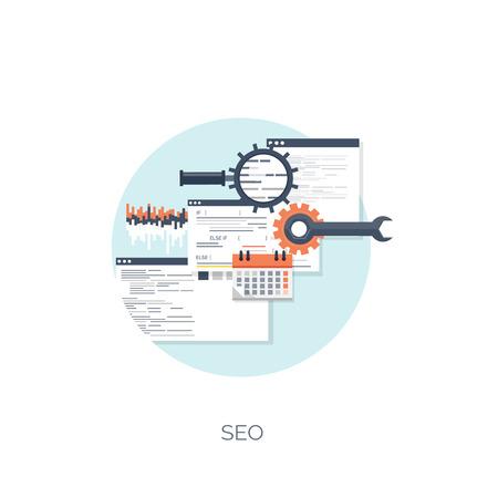 Ilustración del vector. Fondo computación plana. Programación, codificación. Desarrollo web y búsqueda. SEO. La innovación, las tecnologías. Mobile app. Desarrollo, optimización. Foto de archivo - 38114816