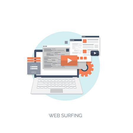 Ilustración del vector. Fondo computación plana. Programación, codificación. Desarrollo web y búsqueda. SEO. La innovación, las tecnologías. Mobile app. Desarrollo, optimización. Foto de archivo - 38114818