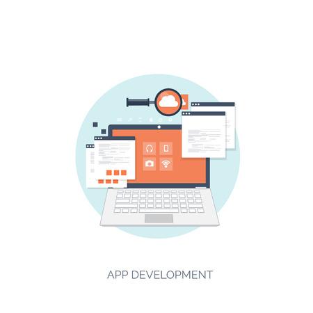 Ilustración del vector. Fondo computación plana. Programación, codificación. Desarrollo web y búsqueda. SEO. La innovación, las tecnologías. Mobile app. Desarrollo, optimización. Foto de archivo - 38114826