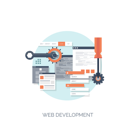 Vector illustration. Flat computing background. Programming,coding. Web development and search. SEO. Innovation, technologies. Mobile app. Development, optimization.