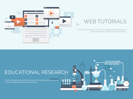 research study: Vector illustration. Flat study backgrounds set. Education and online courses, web tutorials, e-learning. Study ,creative process. Power of knowledge. Video tutorials. Illustration